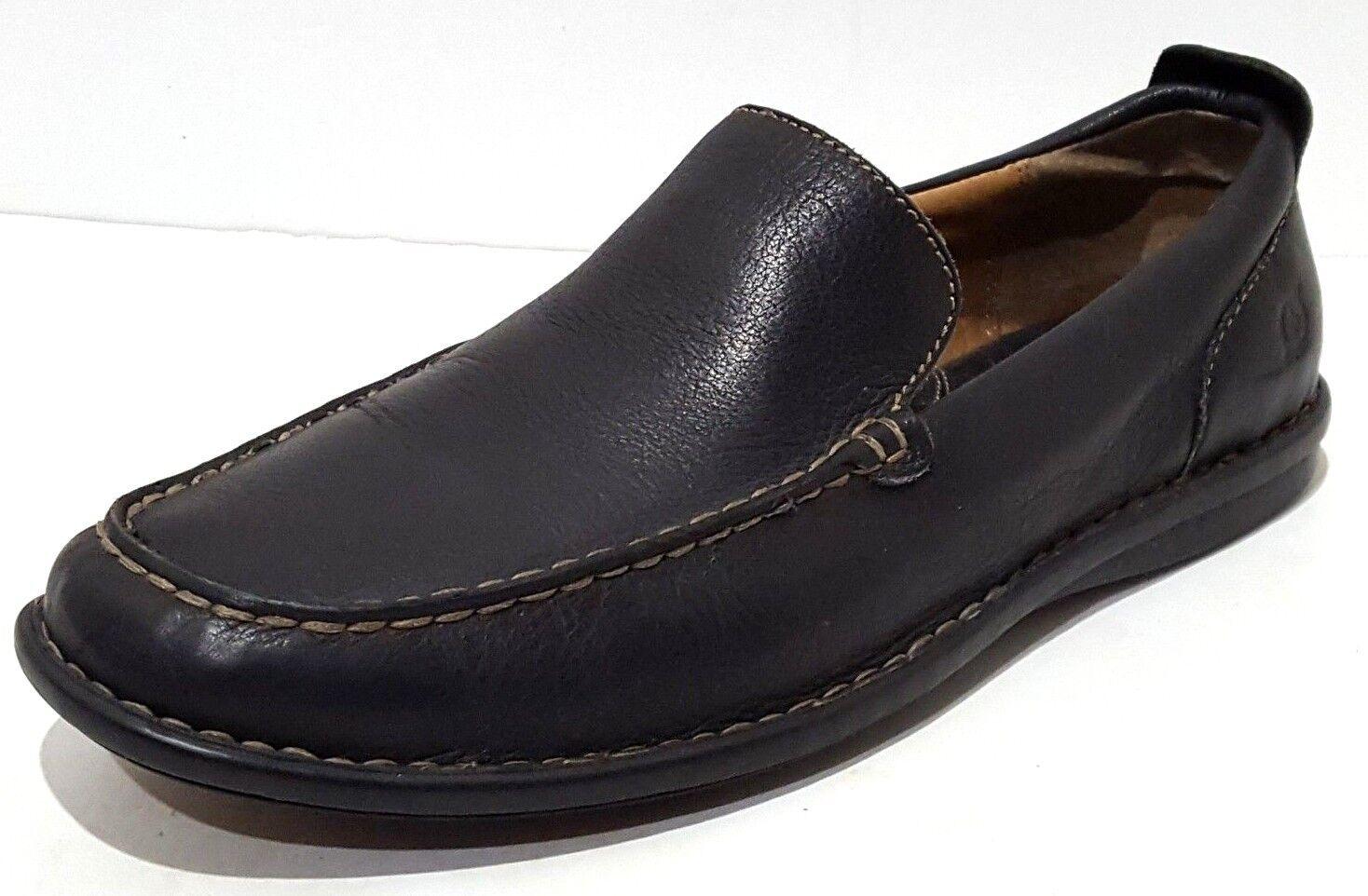 BORN Black Leather Slip On Loafer Driving Moc shoes Mens 8.5