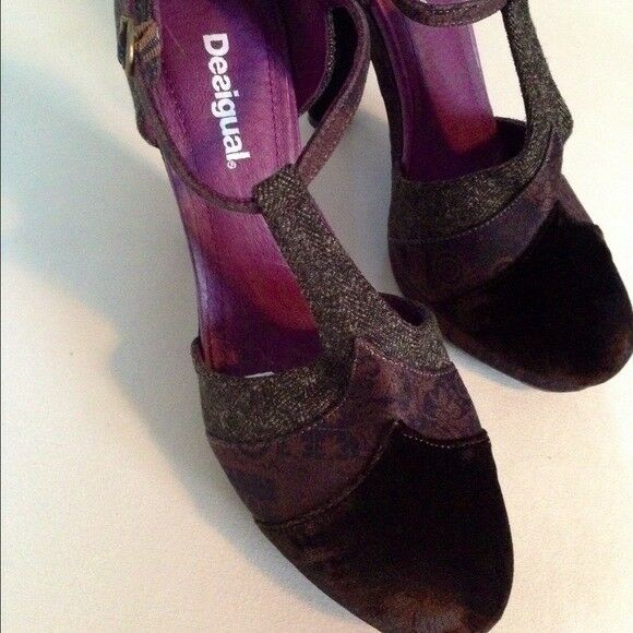Women's Desigual Velvet Velvet Velvet & Leather Print Mary Jane Pumps a2a1eb