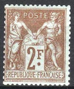 FRANCE-STAMP-TIMBRE-N-105-034-SAGE-2F-BISTRE-SUR-AZURE-034-NEUF-xx-TTB-M525