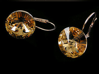 18K Rose Gold GP Austrian Crystal Round  Jewelry Earrings Free Shipping AC106