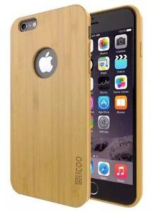 Dettagli su IPhone 6/6S Slicoo Bamboo Legno Case Vero Legno Indietro ✔ slim cover con i pulsanti ✔- mostra il titolo originale