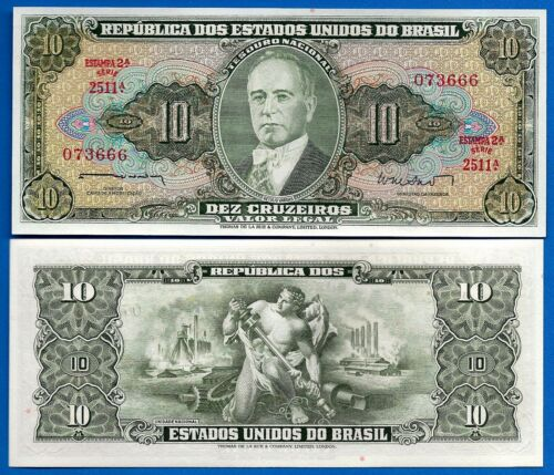 Brazil P-177a 10 Cruzeiros Year ND 1962 Uncirculated Banknote