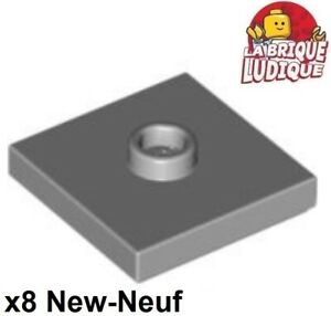 Lego-8x-Plate-Modified-2x2-Groove-1-stud-center-gris-light-b-gray-87580-NEUF