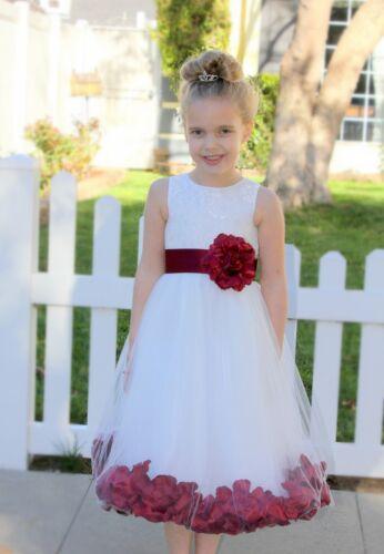 Rose Petals Lace Heart Cutout Flower Girl Dresses Birthday Girl Dresses 185T