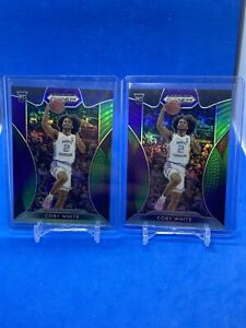 2019-Panini-Prizm-Draft-Pick-Purple-And-Green-Coby-White-199-2-Card-Lot