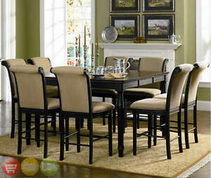 Two Tone Counter Height Table 9 Piece Dining Room Furniture Set ...