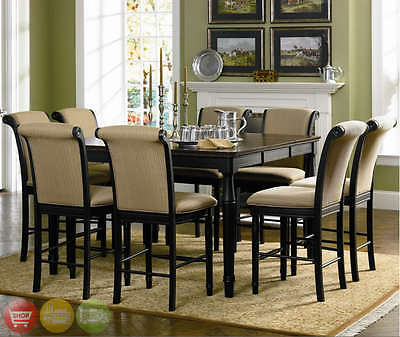 Two Tone Counter Height Table 9 Piece Dining Room Furniture Set Cappuccino