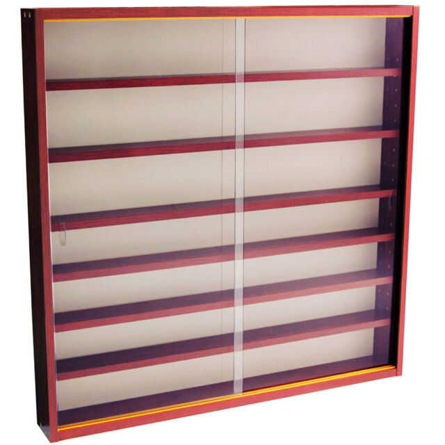 REVEAL - 6 Shelf Glass Wall Display Cabinet - Mahogany MC0502