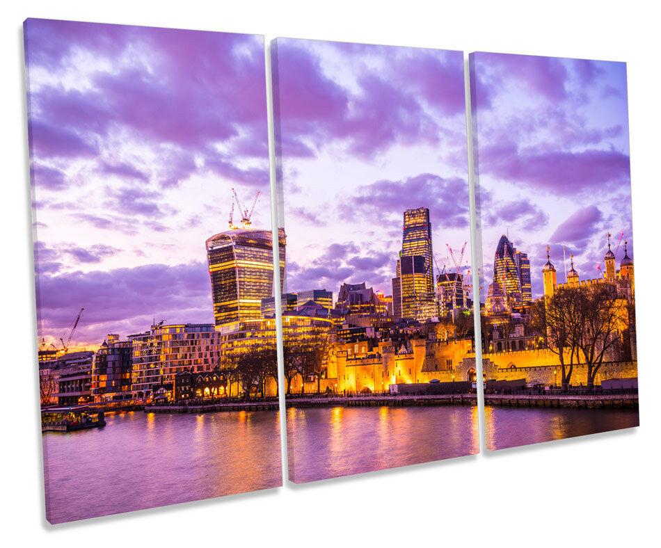 London City Skyline lila CANVAS WALL ART TRIPLE Box Frame Print