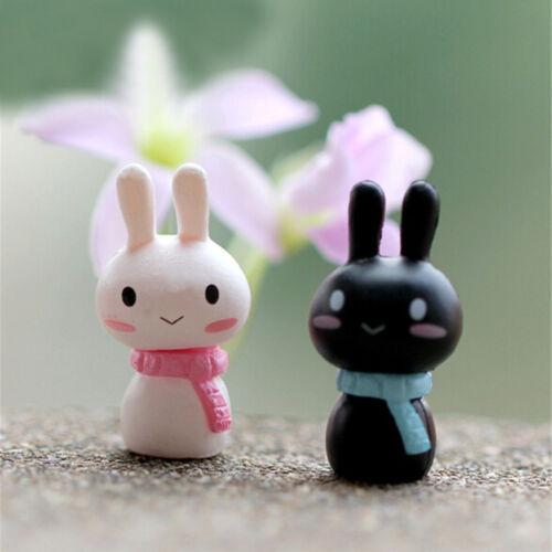 2x Couple Rabbit Miniature Figurines Toys Lovely Mini Model Home Garden Decor