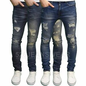 DML-Jeans-Homme-coupe-skinny-Extensible-jambe-droite-dechire-detail-Jean