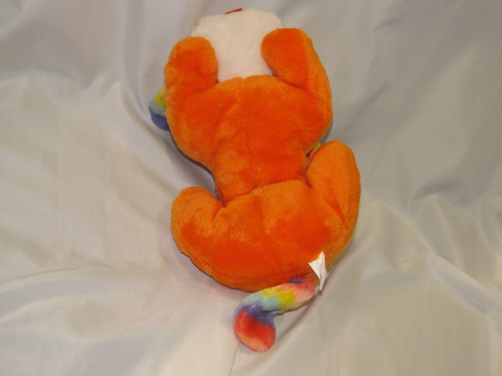 VTG THE PLUSH FACTORY orange RAINBOW STRIPE EAR STUFFED STUFFED STUFFED PUPPY DOG 14  19  ce7cff