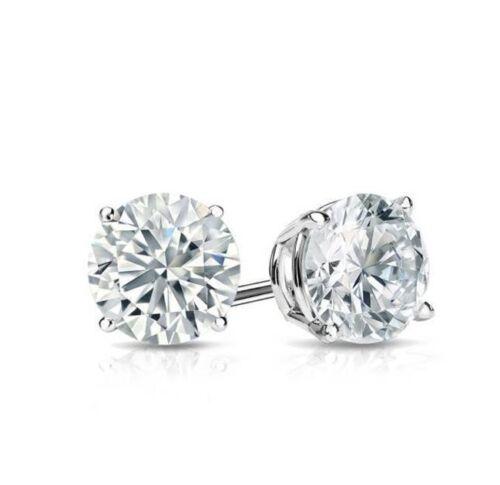 Diamant Clous d/'oreilles Rond Diamant Solitaire Boucles D/'oreilles 14k Or Blanc