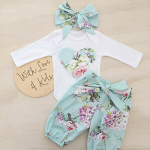 2c0f05d453798 Details about UK Newborn Infant Baby Girl Floral Clothes Romper Tops Pants  Headband Outfit Set