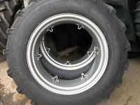 Two 13.6x28,13.6-28 Kubota L3750 8 Ply Tractor Tires With 6 Loop Wheels