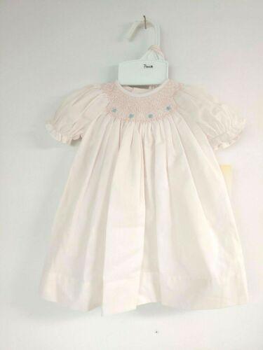 Petit Ami Smocked Dress w//bonnet 5705 Pink w Blue flowers size preemie #1572