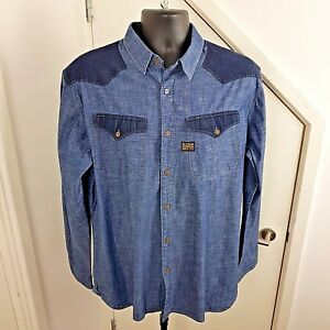 G-STAR-RAW-Shirt-Long-Sleeves-Denim-Originals-Borg-Blue-Size-XXL