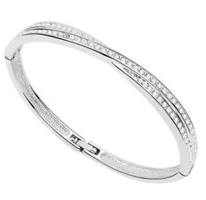 18K-White-Gold-Plated-made-with-Swarovski-Crystal-Elements-Bangle-Bracelet