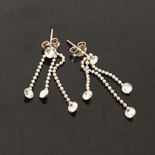 Boucles d'Oreille en Argent Massif Strass Etat Neuf Solid Silver Earrings