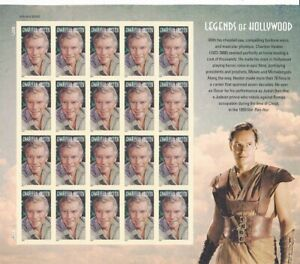 Charlton-Heston-Legends-Of-Hollywood-Full-Sheet-of-20-Forever-Stamps-Scott-4892