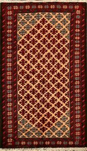 Tribal-Geometric-Balouch-Oriental-Area-Rug-Traditional-Hand-Knotted-3-039-x5-039-Carpet