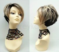 Black Blonde Wig Short Styled Wig Heat Resistant Safe Layered Synthetic