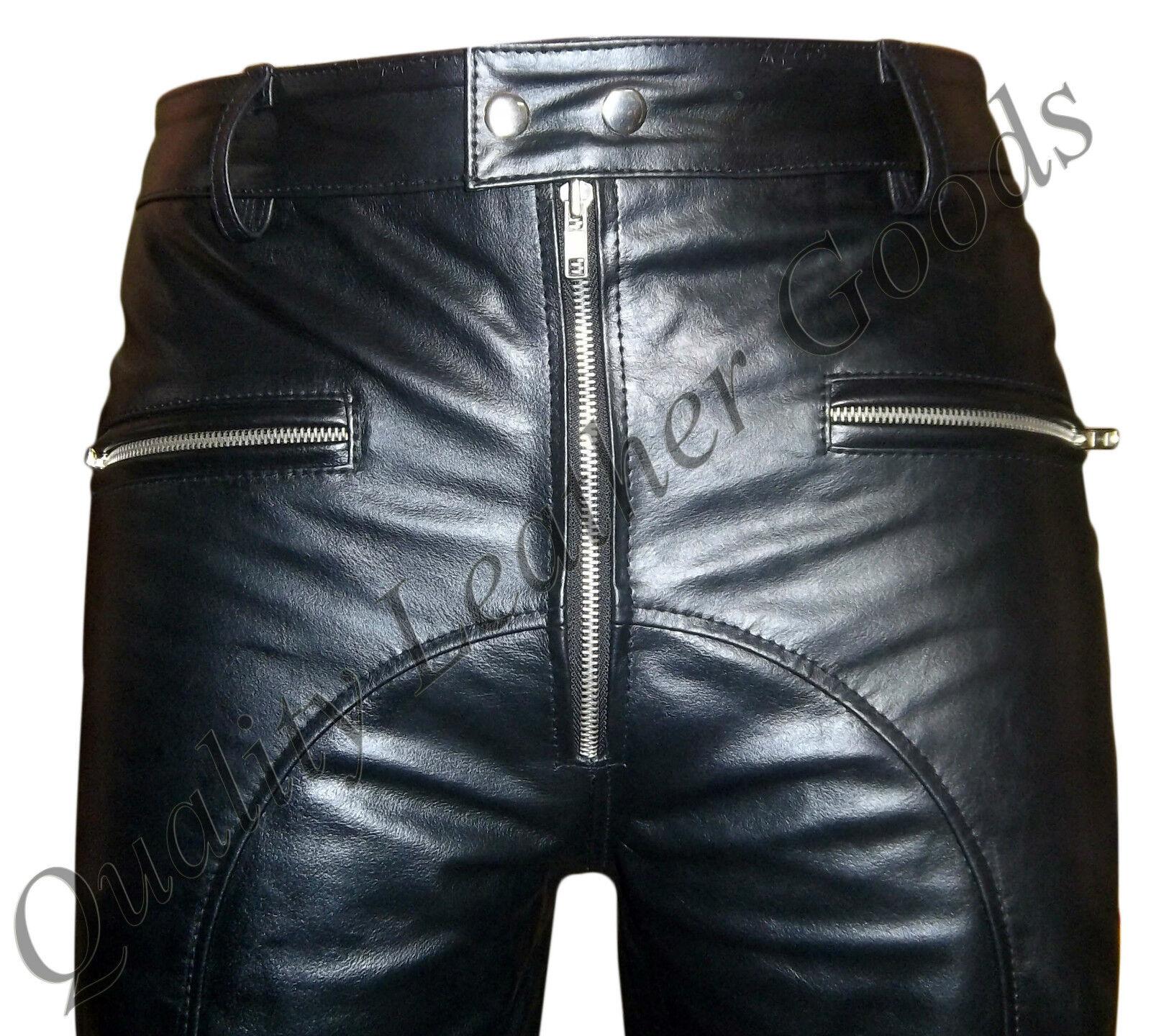 Homme Motard Premium en Cuir Souple Motard Homme Jeans Rembourré Genou Pantalon Front Zip 24FN d6310e