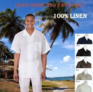 New Men's 2 pc Luxury Linen Casual Solid Color Walking Suit Set M2806L
