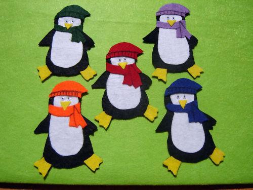 5 penguin felt story kids craft teacher Parent Resource