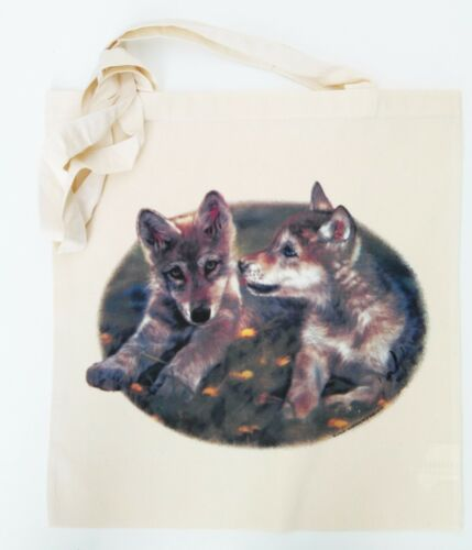 S05 Cute Wolf Puppies re-useable cotton shopping shoulder beach tote bag Gift