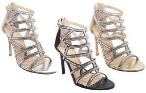 Ladies Diamante Sandals High Heel Party Prom Bridal Designer Sandals Diamante Shoes Light Silver f9f7a9