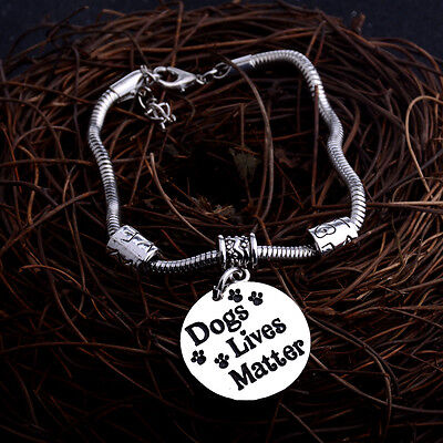 Pet Rescue Dog Cat Black Paws Print Heart Charm Silver Chain Necklace Bracelet