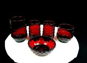 ANCHOR-HOCKING-RUBY-BUBBLE-ELEGANT-GLASS-5-PC-TUMBLERS-amp-FRUIT-BOWL-1934-1965
