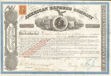 American Express Co. 1866 stock certificate   Henry Wells James Fargo autograph