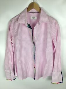 MILANO-ITALY-DONNA-Bluse-rosa-weiss-kariert-Groesse-42-100-Baumwolle