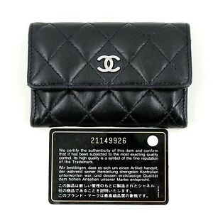 a6c0ca500bb2d0 Image is loading Chanel-Black-Lambskin-Cardholder-Purse-Wallet -Authenticity-Card