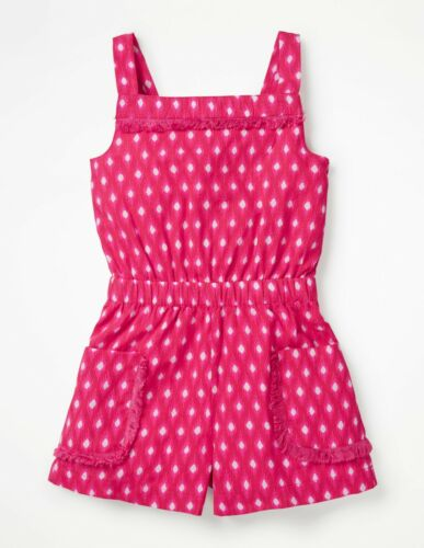 Boden Girls Playsuit Printed Pocket Woven Blue Pink Age 2-16 Years RRP £28