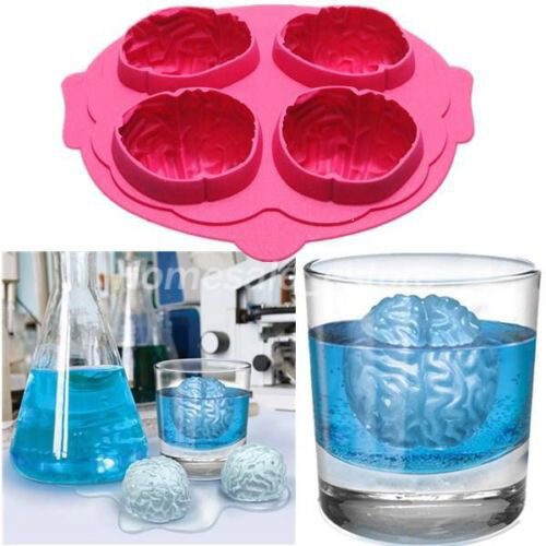 Silicone Brain Shape Ice Freeze Cube Tray Maker Mold Mould Bar Party Drink