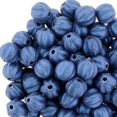 Metallic Suede Blue 5 mm Glass Melon Beads (50)