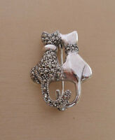 925 Sterling Silver Marcasite Black And White Two Cats, Kitten Brooch
