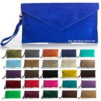 Large Envelope Clutch Evening Genuine Real Suede Leather Shoulder Bag-26 Colours