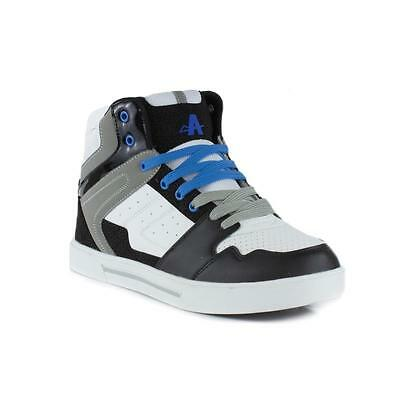 Ascot Mens Black and White Hi Top Lace Trainer - Sizes 6,7,8,9,10,11,12,13