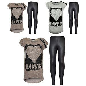 704521a7efc2 Kids Girls LOVE Printed Top   Stylish Fashion Wetlook Legging Set ...