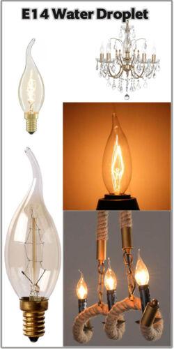 Dimmable E14 C35 60 W Edison Vintage Lampe à Incandescence Ampoule Bougie Flamme Lumière UK