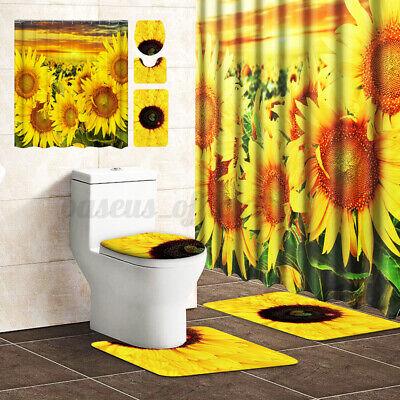 Sunflower 180CM Shower Curtain Pedestal Lid Toilet Seat Rug Cover Bathroo