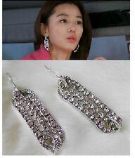 New Fashion Design Rhinestone Strip Shape Geometry Silver Metal Earring Stud top
