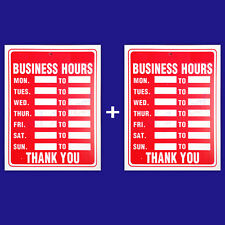"""2 Signs BUSINESS HOURS Flexible Thick Plastic Business Home Office Size: 9""""x12"""""""