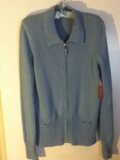 XL NWT Cotton Nordstrom Zip Button Pocket Blue Knit Collar Sweater Jacket Coat