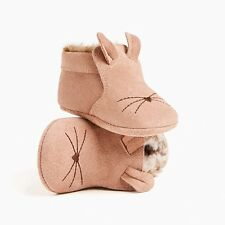 ZARA Mini Baby Unisex Genuine Suede Leather Mouse Faux Fur Lined Booties 6/9 Mo