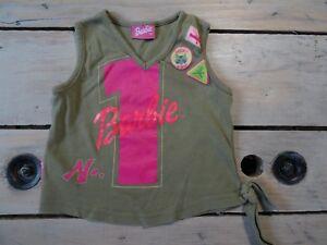 T-shirt-debardeur-col-V-vert-kaki-sans-manches-imprime-n-1-BARBIE-Taille-5-ans